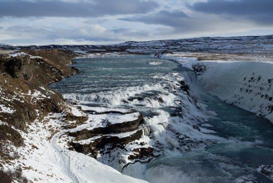 La cascade Gullfoss en Islande, pendant l'hiver